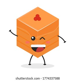 Cute flat cartoon cube cake illustration. Vector illustration of a cute cube cake with a smiling expression. Cute cake mascot design