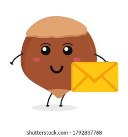Cute flat cartoon hazelnut holding an envelope illustration. Vector illustration of cute hazelnut with a smiling expression.