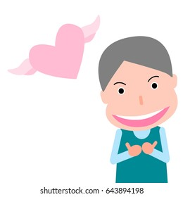 cute flat cartoon of man with two hands   thumbs  and pink heart