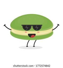 Cute flat cartoon matcha macarons illustration. Vector illustration of cute macarons with a smiling expression. Cute green tea macaron mascot design