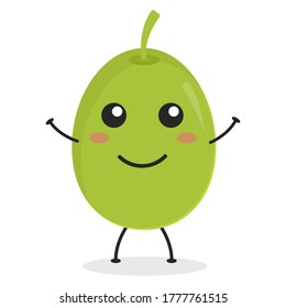 Cute flat cartoon olive illustration. Vector illustration of cute olive with a smiling expression.