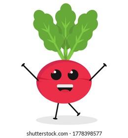 Cute flat cartoon radish illustration. Vector illustration of cute radish with a smiling expression.