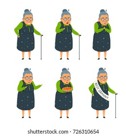Cute flat cartoon style grandmother illustration set. Old lady smiling, proud, happy, excited, showing, scold, hold a pie, winking, relies on a cane. Shoulder sashes with the inscription best granny.