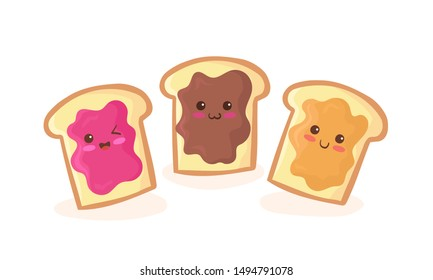Cute flat cartoon style peanut butter, chocolate and pink jelly jam loaf bread sandwich vector illustration. Kawaii sandwiches character with face and smile. Kids menu colorful design elements.