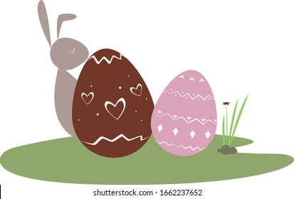 Cute flat cartoon vector illustration. Easter holliday. Easter rabbit with eggs on a grass in the garden. Spring season.