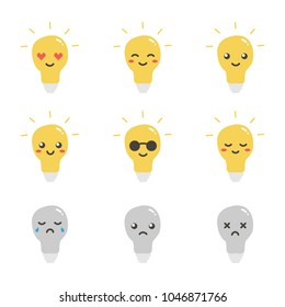 Cute flat design lamp, light bulb character with different facial expressions, emotions. Set, collection of emoji isolated on white background.