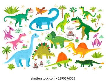Cute flat dinosaur set. Illustrations prehistoric lizard for children. Childish poster with Jurassic reptiles. Cartoon characters dino isolated on white background. Dinosaur era wildlife - Vector