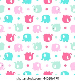 Cute flat elephant. Vector seamless pattern with fun color elephants silhouette and dots. Sweet background for babies and children. Pastel colors - pink and green on white background.