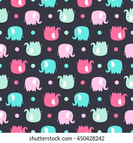 Cute Flat Elephant Vector Seamless Pattern With Fun Color Elephants Silhouette And Dots Sweet