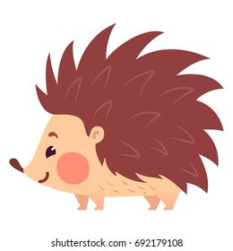 Cute flat hedgehog with blush. Childish illustration. Vector animal on white background.