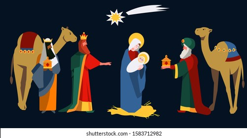 Cute flat illustration of three Wise Men Kings who warship Baby Jesus and Virgin Mary with gifts in nativity scene at Christmas. Melchior, Caspar and Balthazar. Spanish tradition Día de Reyes Magos