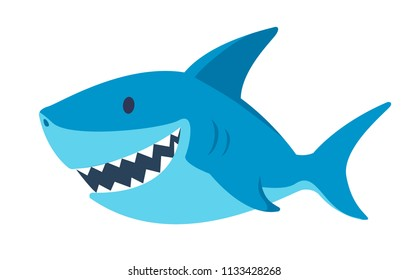 cute flat shark. cartoon vector illustration