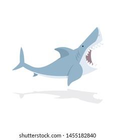 Cute flat Shark open mouth