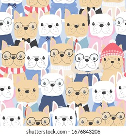 cute flat style french bulldog dog in gentle man costume seamless pattern eps10 vectors illustration