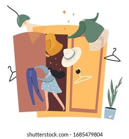 Cute flat vector illustration with a girl and a wardrobe about spring clutter