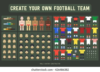 Cute flat vector male avatar constructor. Create your own football team! Set includes different skin tone, eye and hair color, beard and hair style, soccer uniform.