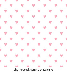 Cute flat vector seamless pattern with small pink hearts on white background