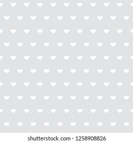 Cute flat vector seamless pattern with small white hearts on gray background - Vector