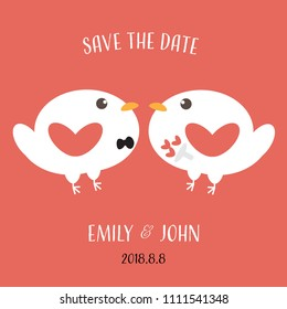 cute flat white love birds bride and groom on red background isolated for valentine or wedding invitation card