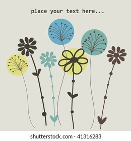 Cute floral background for greeting card. Vector illustration.
