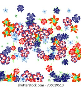 Cute Floral Background for Greeting Card, Flyer, Banner. Small Simple Flowers in Retro Style on White Background. Random Pattern.