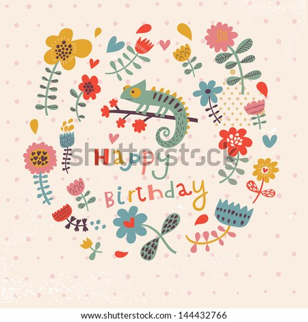 Cute Floral Birthday Card With Amazing Chameleon In Flowers Vintage Vector Party Invitation Design