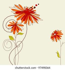 Cute floral card vector illustration