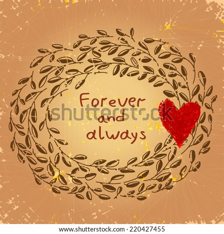 Cute Floral Frame Love Forever Always Stock Vector Royalty Free