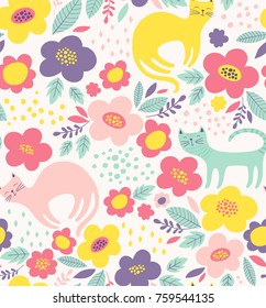 Cute floral pattern with cats. Colorful flower vector background.