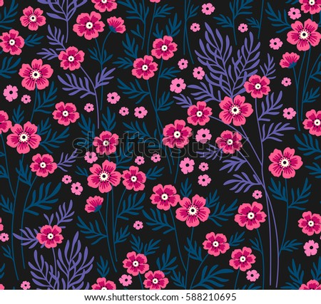 Cute floral pattern pretty flowers on stock vector royalty free cute floral pattern pretty flowers on dark blue background printing with small scale mightylinksfo