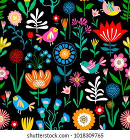 Cute Floral Pattern, Seamless Vector Background, Summer Texture for Trandy Fashion Prints for Kids and Babies