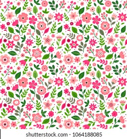 "Cute Floral pattern in the small flower. ""Ditsy print"". Motifs scattered random. Seamless vector texture. Elegant template for fashion prints. Printing with small pink flowers. White background."