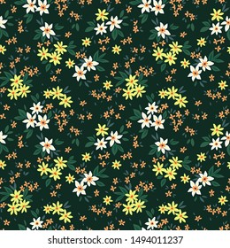 Cute Floral pattern in the small flower. Ditsy print. Motifs scattered random. Seamless vector texture. Elegant template for fashion prints. Printing with small white flowers. Dark green background.