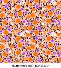Cute floral pattern in the small flower. Ditsy print. Seamless vector texture. Elegant template for fashion prints. Printing with small orange, purple and white flowers. Pale orange background.