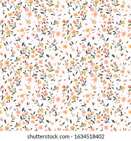 Cute floral pattern in the small flower. Ditsy print. Seamless vector texture. Elegant template for fashion prints. Printing with small pink and yellow flowers. White background.