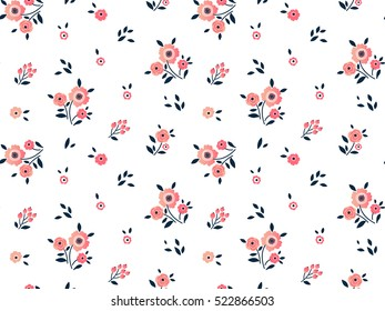 "Cute Floral pattern in the small flower. ""Ditsy print"". Motifs scattered random. Seamless vector texture. Elegant template for fashion prints. Printing with very small pink flowers. White background."