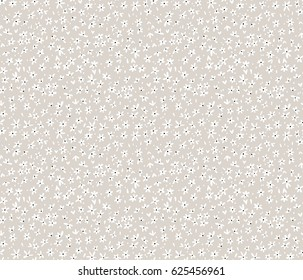 Cute floral pattern in the small flower. Ditsy print. Seamless vector texture. Beige background.