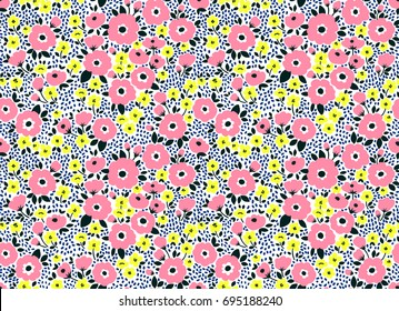Cute floral pattern in the small flower. Ditsy print. Seamless vector texture. Elegant template for fashion prints. Printing with small rose-colored flowers. White background.