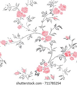 Cute Floral pattern in the small flower. Imitation of embroidery.