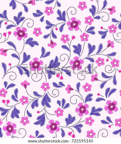 Cute Floral Pattern Small Flower Embroidery Stock Vector Royalty