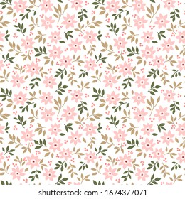 Cute floral pattern in the small flowers. Ditsy print. Seamless vector texture. Elegant template for fashion prints. Printing with small pink flowers. White background.