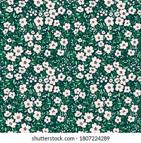Cute floral pattern in the small flowers. Ditsy print. Seamless vector texture. Elegant template for fashion prints. Printing with small white flowers. Dark green background.