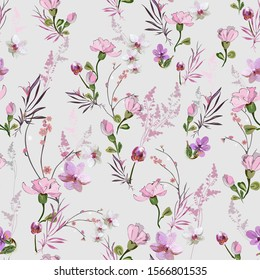 Cute floral pattern with small pink flowers of orchids, violets, roses and buds on a light background. Seamless vector with various botanical elements arranged randomly. For textile, wallpaper, tile.