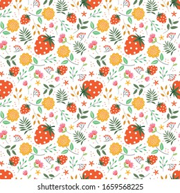 Cute floral pattern with strawberry in the white backdrop. creative pattern with floral concept