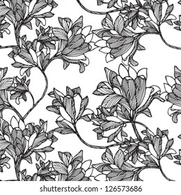 Cute Floral  seamless pattern black and white