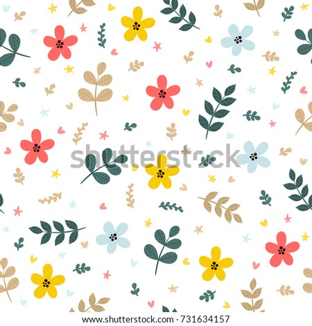 cute floral seamless pattern leaves branches stock vector royalty