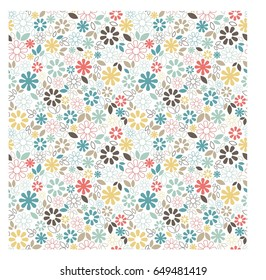 Cute floral seamless pattern with small multicolored flowers and leaves on white background. Trendy vector design for scrapbook, wrapping, wallpaper, package, ditsy print textile.
