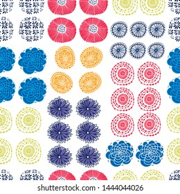 Cute floral seamless pattern with spring flower. Vintage flowers illustration. Template for fashion prints.