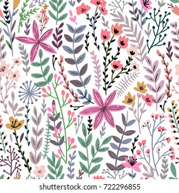 Cute Floral seamless pattern with tiny flower. Wild flowers illustration. Elegant template for fashion prints.