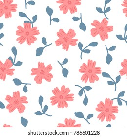 Cute floral seamless pattern for women. Asbtract flowers and leaves drawn by hand. Girly vector illustration.